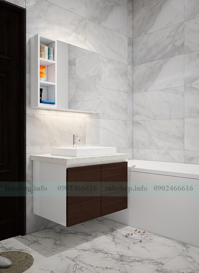 Mẫu tủ lavabo rửa mặt gỗ nhựa picomat chống nước